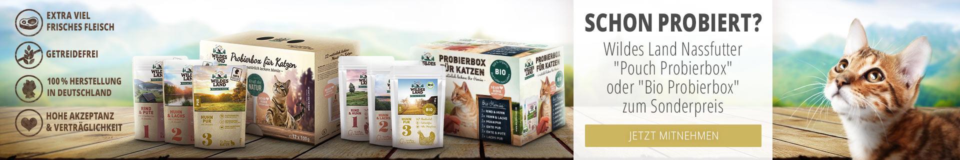 Wildes Land Nassfutter Aktion Katze - 15% Rabatt auf Probierboxen