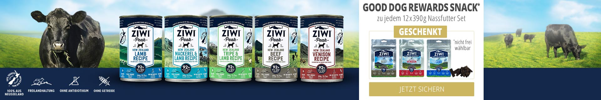 Ziwi Nassfutter Aktion mit Good Dog Rewards Snack Geschenkt