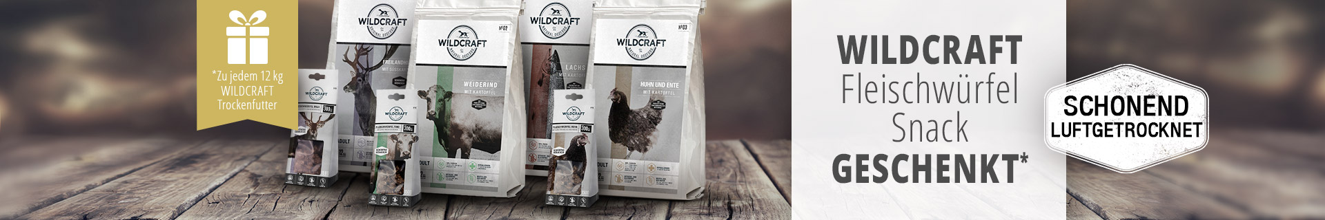Wildcraft Aktion - 12kg Trockenfuttersack kaufen und Hundesnack Fleischwürfel gratis dazu erhalten