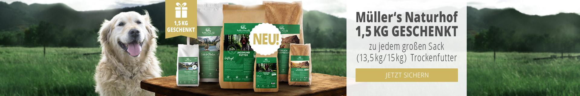Müller's Naturhof Trockenfutter Aktion - 13,5 bzw. 15kg Trockenfuttersack kaufen & 1,5kg derselben Sorte gratis erhalten