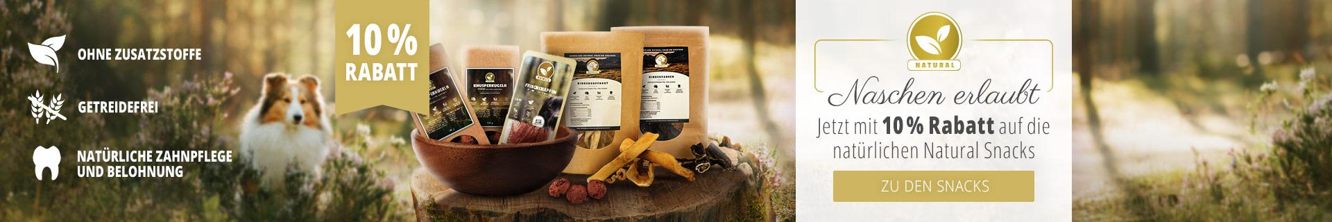 Naschen erlaubt mit 10 Prozent Rabatt auf die natürlichen Natural Snacks
