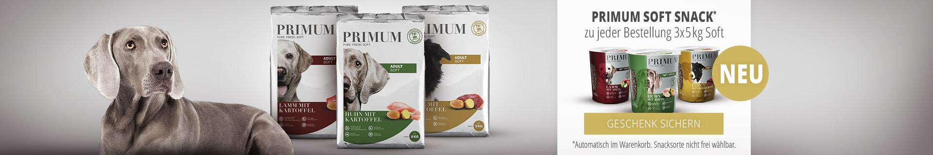 PRIMUM - 3x5kg Softfutter Sack kaufen + PRIMUM Soft Snack gratis