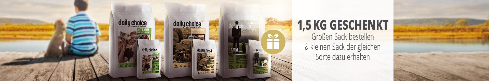 daily choice Trockenfutter Aktion 15kg bestellen und 1,5kg gratis erhalten