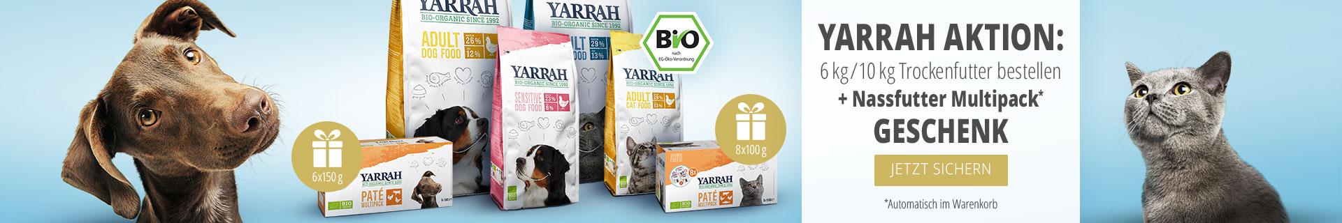 Yarrah Aktion: 6kg / 10kg Trockenfutter bestellen + Nassfutter Multipack geschenkt