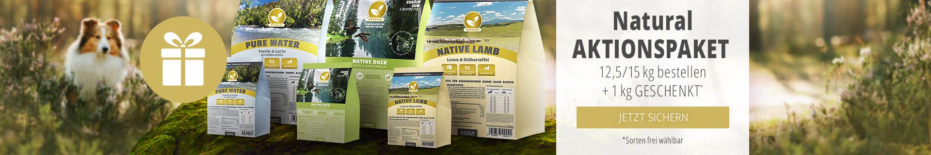 Natural Trockenfutter Aktionspaket - 12,5 bzw. 15kg Sack + 1kg geschenkt