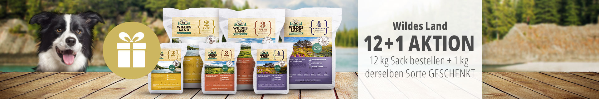 Wildes Land Hund - 12kg Trockenfuttersack bestellen & 1kg derselben Sorte geschenkt erhalten