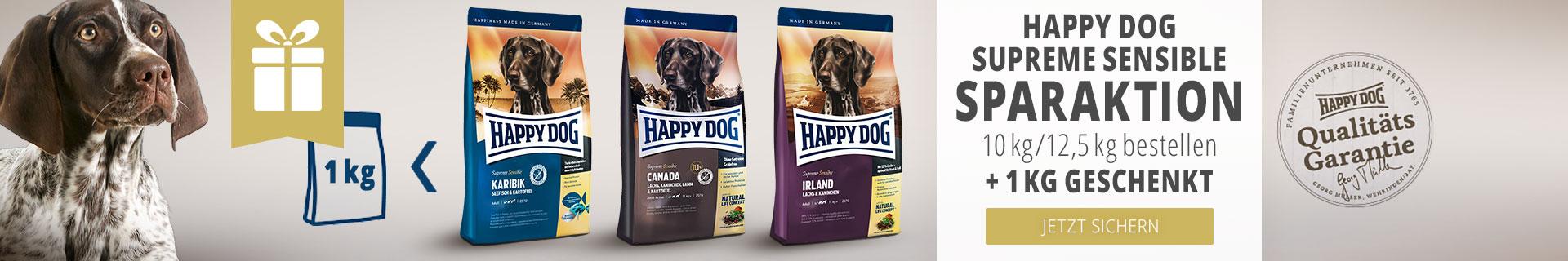 Happy Dog Supreme Sensible Sparaktion 10kg/12,5kg bestellen + 1kg geschenkt