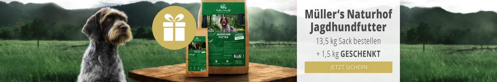 Müller's Naturhof Trockenfutter Aktion - 13,5kg Jagdhundfutter kaufen & 1,5kg derselben Sorte gratis erhalten