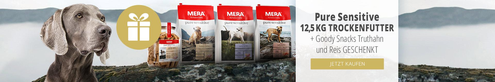 Mera 12,5kg Purse Sensitiv Trockenfutter + Mera Goody Snack gratis Hund