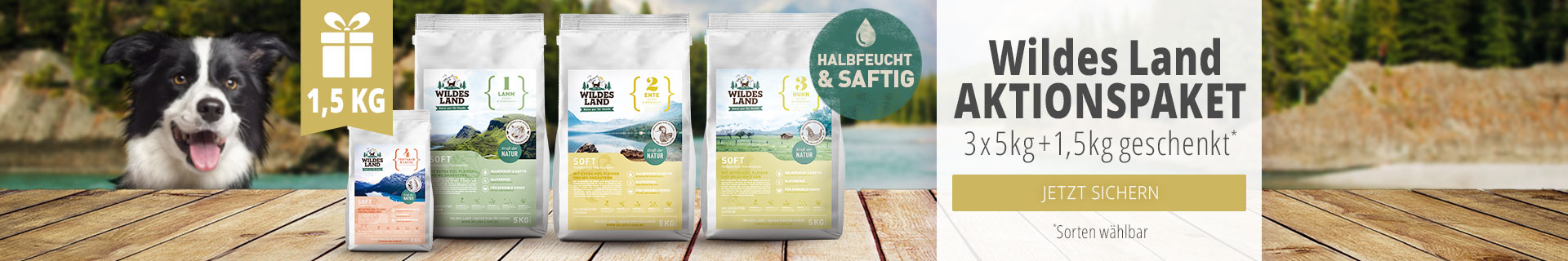 Wildes Land Hund Softfutter Aktionspaket - 3x5kg Säcke + 1,5kg geschenkt