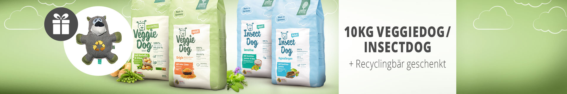 VeggieDog/InsectDog + Recyclingbär geschenkt (Josera)