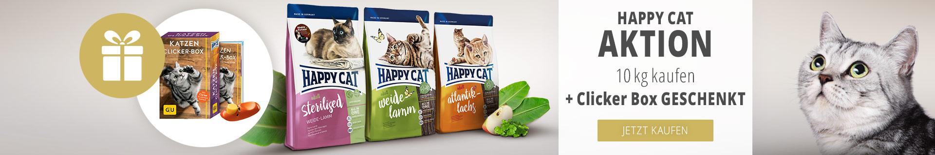 10kg Happy Cat Supreme + Clicker Box geschenkt