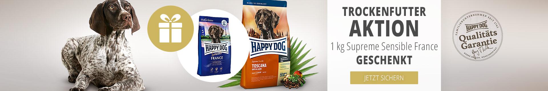 Trockenfutter-Aktion: 1kg Happy Dog geschenkt