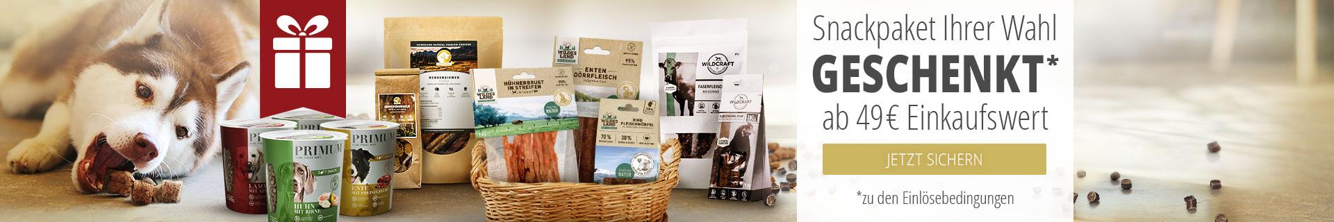 Snackpaket für Hunde geschenkt ab 49€ Mindesteinkaufswert
